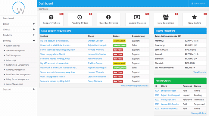 Screenshot of WHSuite dashboard