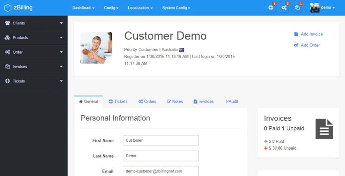 Screenshot of ZBilling NET