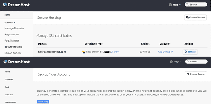 Screenshots of DreamPress dashboard showing backups and SSL certificates