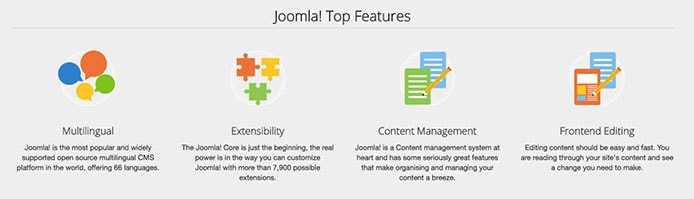Screenshot of Joomla's top features