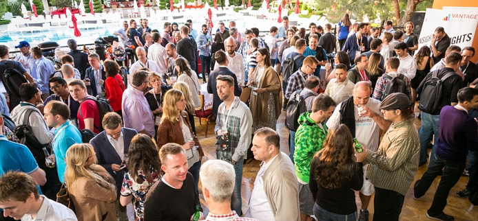 Crowd shot overlooking Magento networking event