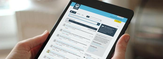 Mockup of Get Satisfaction portal on a tablet