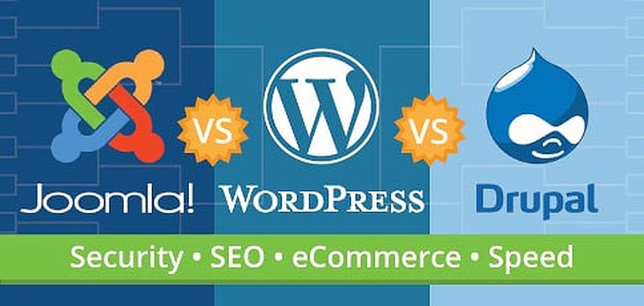 Joomla versus WordPress versus Drupal Guide Graphic