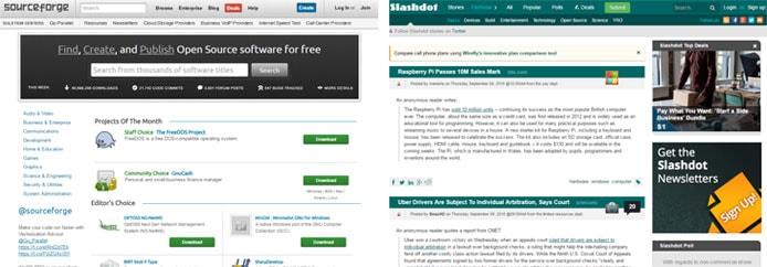 Screenshots of SourceForge and Slashdot's websites