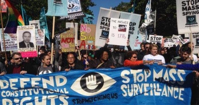 People protesting NSA surveillance