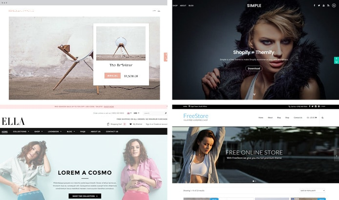 Screenshots of four eCommerce WordPress themes