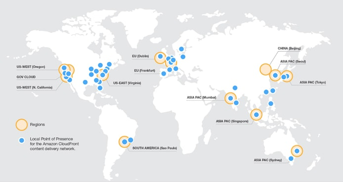 Screenshot of AWS datacenter map