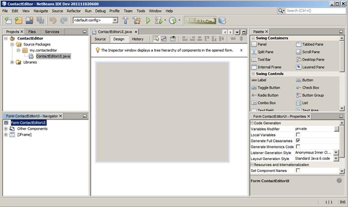 Screenshot of NetBeans's GUI builder