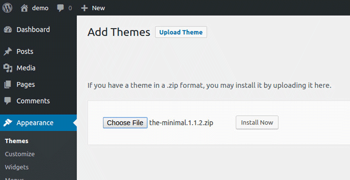 Screenshot of theme ZIP upload