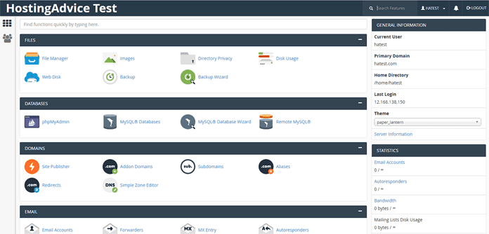 Screenshot of the cPanel dashboard