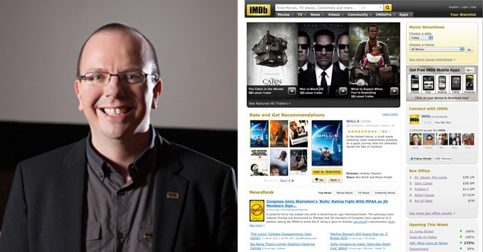 Picture of Col Needham and screenshot of IMDb homepage