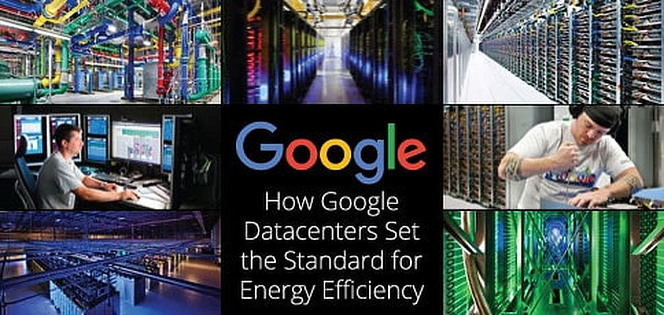 Collage showcasing Google's energy-efficient servers