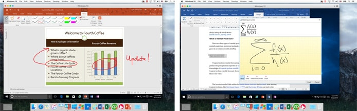 Screenshots of Windows Ink on PowerPoint and Word