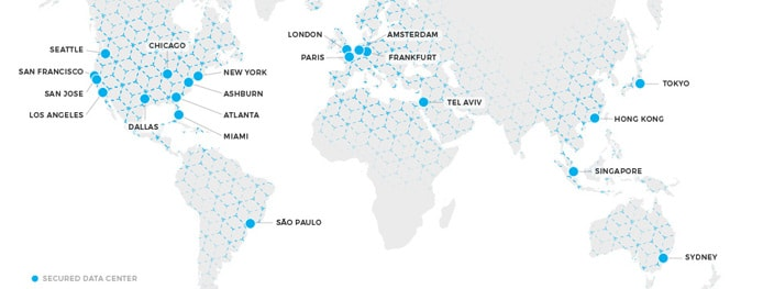 Map of StackPath's datacenter locations