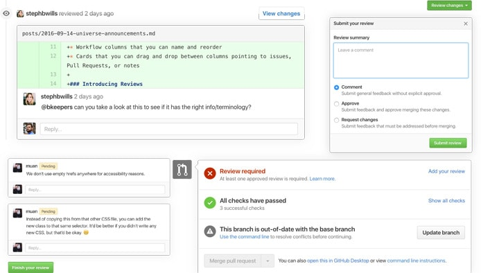 Screenshots of GitHub's code review tools