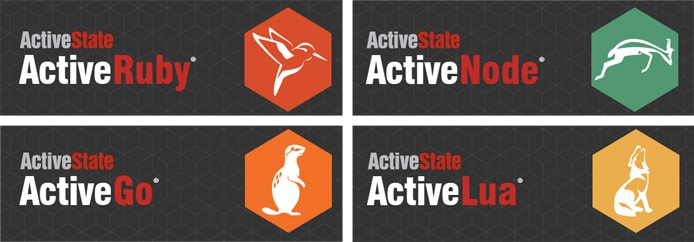 Logos for ActiveRuby, ActiveNode, ActiveGo, and ActiveLua