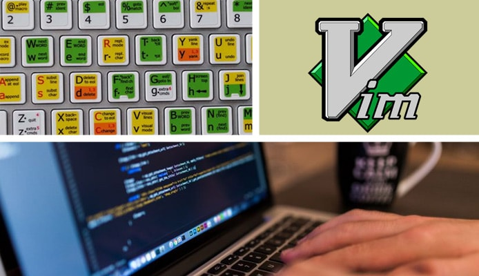 Collage of keyboard with shortcuts, Vim logo, and person typing into a text editor