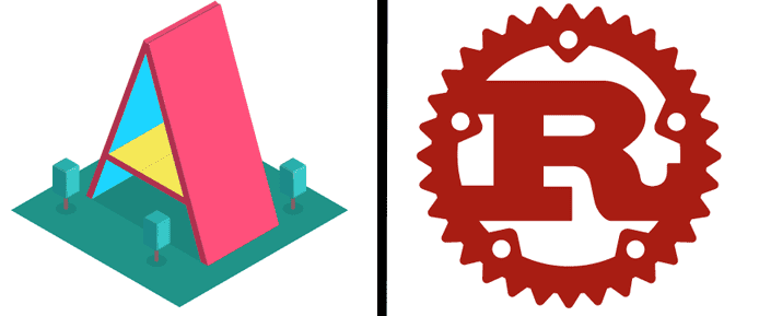 A-Frame and Rust logos