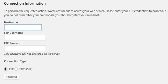 Screenshot of FTP credentials