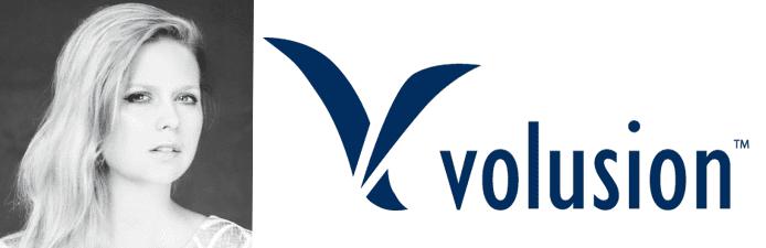 Headshot of Sarah Lewis and Volusion logo
