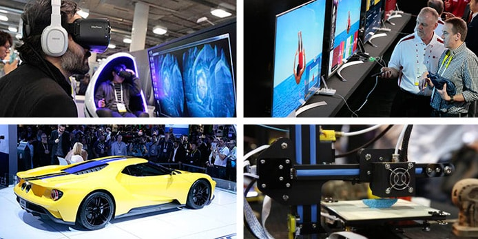 Images from previous CES showing a new car, televisions, 3D printing, and people wearing virtual reality goggles