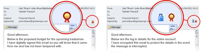 Screenshots showing how to secure emails