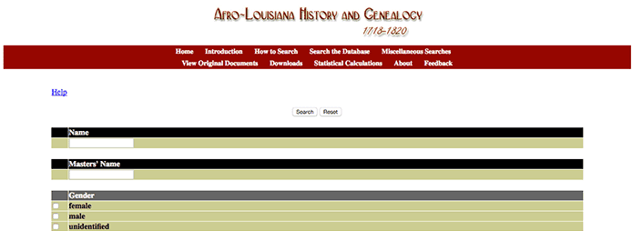 Screenshot of Louisiana slave database