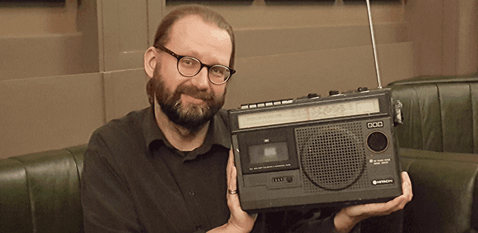 Mads posing with the original radio