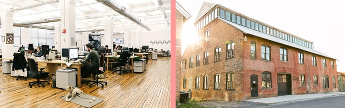 Photos of interior and exterior of Etsy's headquarters