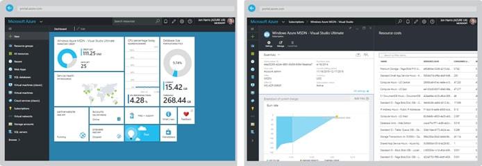 Screenshots of Azure's management portal