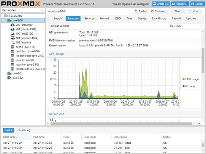 Screenshot of Proxmox Virtual Environment interface
