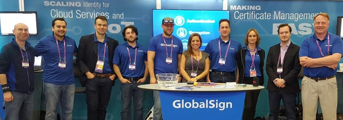 Group photo of GlobalSign employees at a conference
