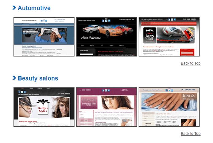 Screenshot of Web.com templates