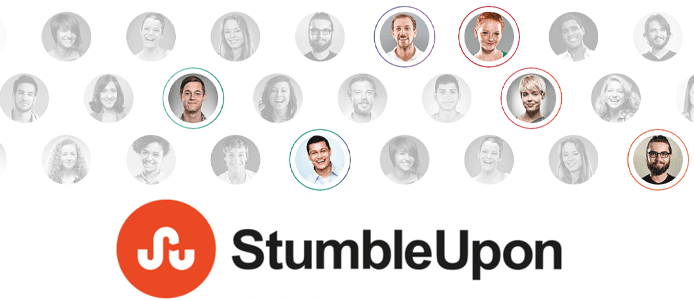 StumbleUpon logo and photos of web users
