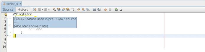 Screenshot of NetBeans ECMAScript 7 hint