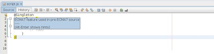 Screenshot of NetBeans ECMAScript 7 hint