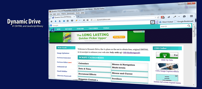 Screenshot of Dynamic Drive homepage