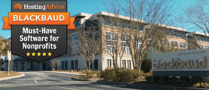 Photo of Blackbaud headquarters and HostingAdvice award badge