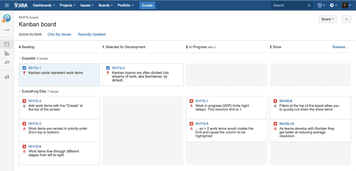 Screenshot of JIRA's Kanban user interface