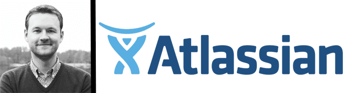 Headshot of Jake Brereton and Atlassian logo