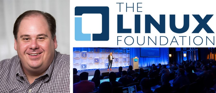 Portrait of Mark Hinkle with Linux logo and event photo
