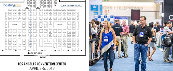 Exhibit hall floor plan and photo of people walking through exhibit hall