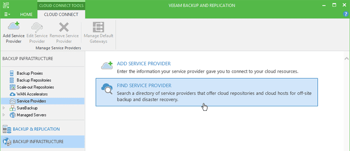 Screenshot of Veeam Cloud Connect