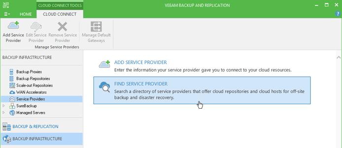 Screenshot of Veeam Cloud Connect