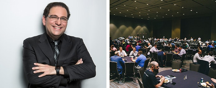 Portrait of Kevin Mitnick and networking session
