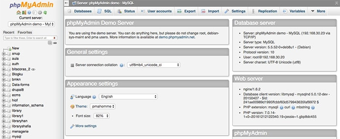 Screenshot of phpMyAdmin interface