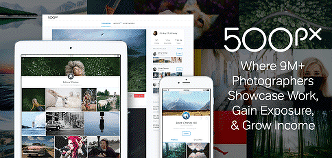 Graphic showcasing 500px