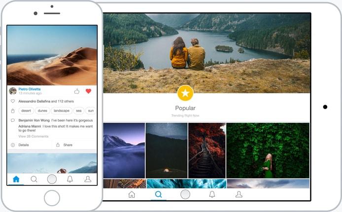 Screenshot of the 500px platform