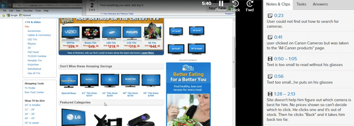 Screenshot of user video