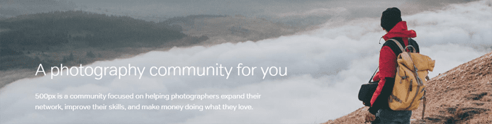 Screenshot of 500px community page